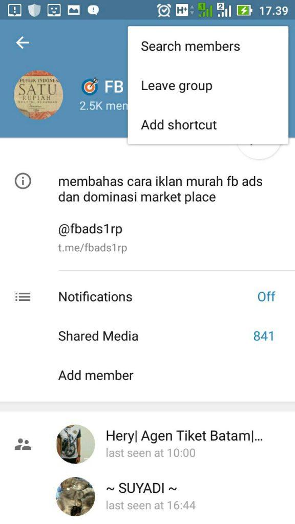 Cara keluar dari grup telegram