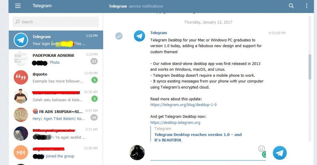 akses telegram melalui browser di komputer