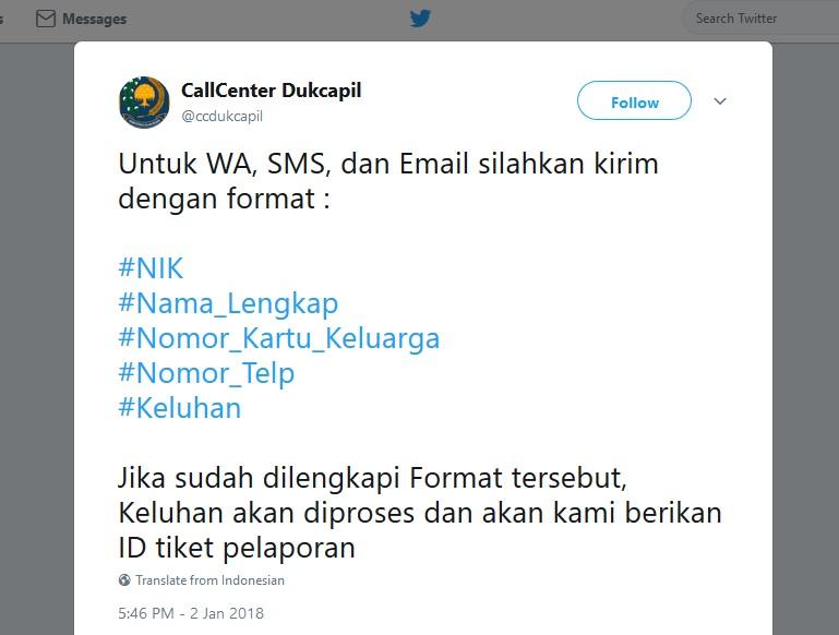 Cara cek ekTP secara online menggunakan whatsapp