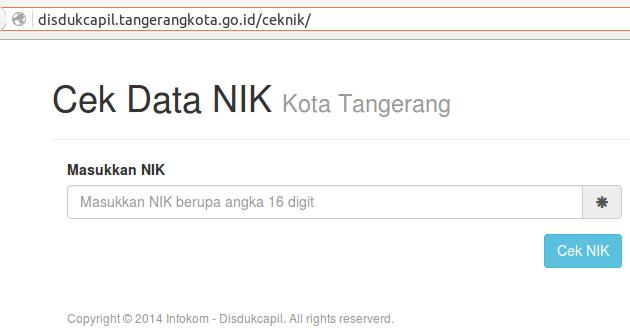 Cara Cek NIK Kota Tangerang